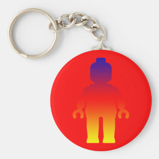Minifig [Large Rainbow 2] by Customize My Minifig Basic Round Button Keychain