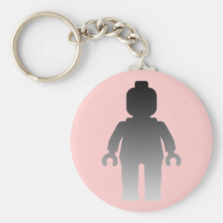 Minifig [Large Silver] by Customize My Minifig Basic Round Button Keychain