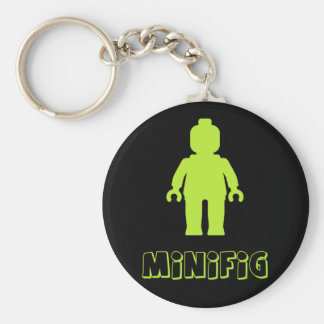Minifig [Lime Green] by Customize My Minifig Basic Round Button Keychain