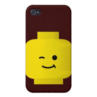 Minifig que guiña la cabeza iPhone 4 carcasas