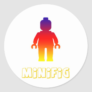 Minifig [Rainbow 2] by Customize My Minifig Classic Round Sticker