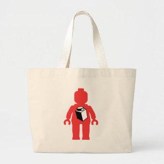 Minifig rojo con 1 x 1 logotipo del ladrillo bolsa tela grande