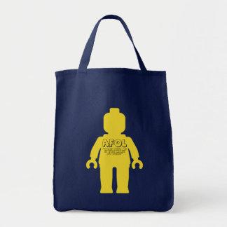 """Minifig """"viene conmigo si usted quiere construir """" bolsa tela para la compra"""