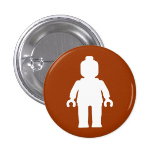 Minifig White by Customise My Minifig Pinback Button