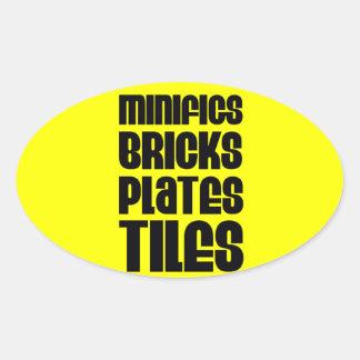 MINIFIGS BRICKS PLATES TILES OVAL STICKER