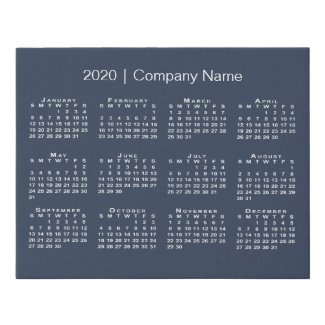 Minimal 2020 Calendar with Company Name on Navy Faux Canvas Print