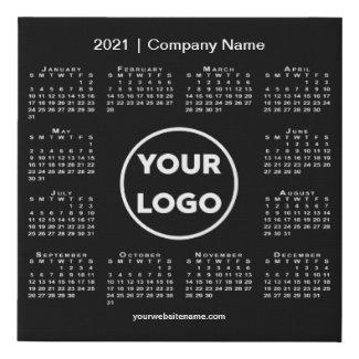 Minimal 2021 Calendar with Company Logo Black Faux Canvas Print