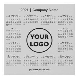 Minimal 2021 Calendar with Company Logo Grey Faux Canvas Print