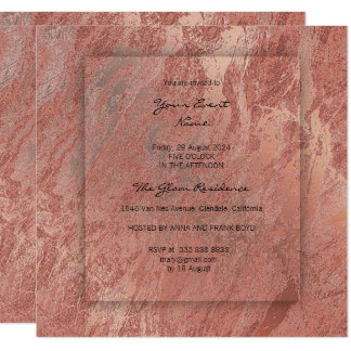 Minimal 3-D Gray Rose Copper Conceptual Marble Card