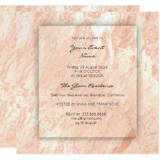 Minimal 3-D Gray Rose Gold Coral Conceptual Marble Card