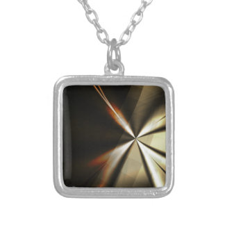 Minimal Abstract Brown Square Pendant Necklace