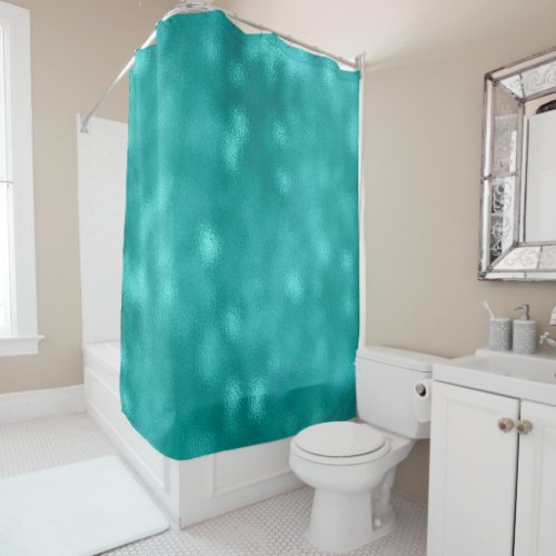 Minimal Abstract Glass Teal Aquatic Green Ocean Shower Curtain