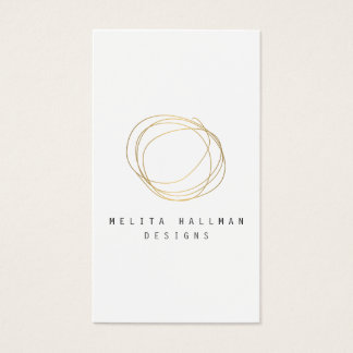 Minimal and Modern Designer Scribble Logo in Gold Business Card