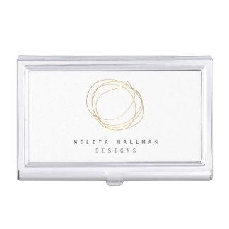 Minimal and Modern Designer Scribble Logo in Gold Case For Business Cards