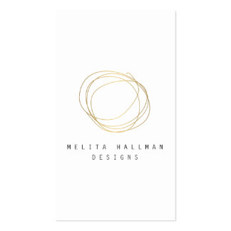 Minimal and Modern Designer Scribble Logo in Gold Double-Sided Standard Business Cards (Pack Of 100)