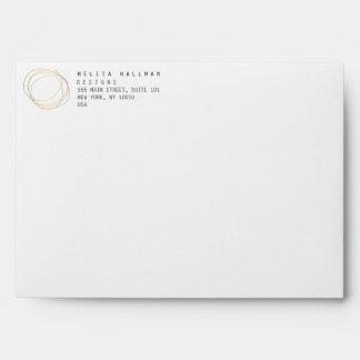 Minimal and Modern Designer Scribble Logo in Gold Envelope