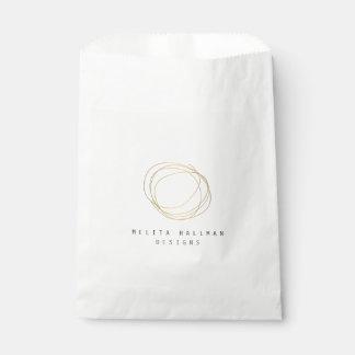 Minimal and Modern Designer Scribble Logo in Gold Favor Bag