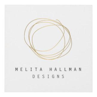 Minimal and Modern Designer Scribble Logo in Gold Panel Wall Art