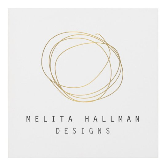Minimal And Modern Designer Scribble Logo In Gold Panel Wall Art