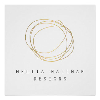 Minimal and Modern Designer Scribble Logo in Gold Poster