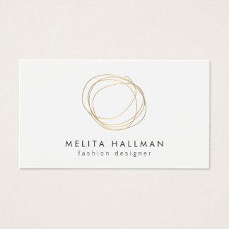 Minimal and Modern Gold Designer Scribble Logo II Business Card