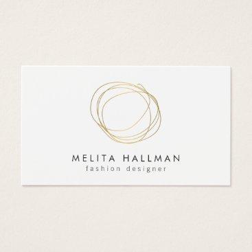 1201am Minimal and Modern Gold Designer Scribble Logo II Business Card