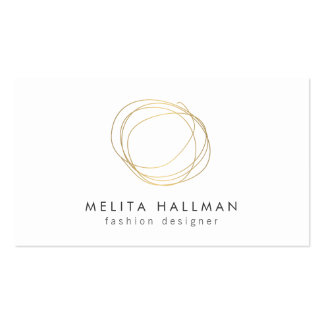 Minimal and Modern Gold Designer Scribble Logo II Double-Sided Standard Business Cards (Pack Of 100)