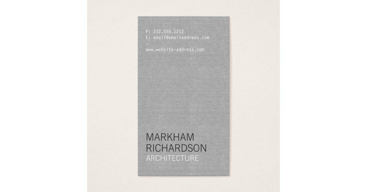 Amazing linen paper business cards motif business card ideas minimal and modern gray linen business card zazzle reheart Gallery