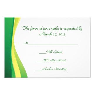 Minimal and  modern green line RSVP cards