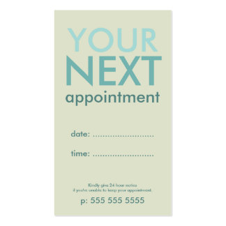 Minimal Basic Appointment Card in Eggshell & Cyan Business Card
