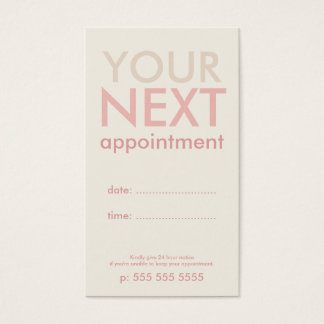 Minimal Basic Appointment Card in Offwhite & Pink