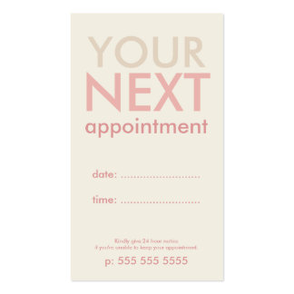 Minimal Basic Appointment Card in Offwhite & Pink Double-Sided Standard Business Cards (Pack Of 100)