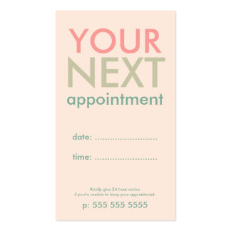 Minimal Basic Appointment Card in Pink Olive Green