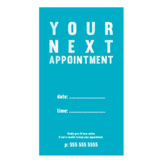 Minimal Basic Appointment Card in White Turquoise Double-Sided Standard Business Cards (Pack Of 100)