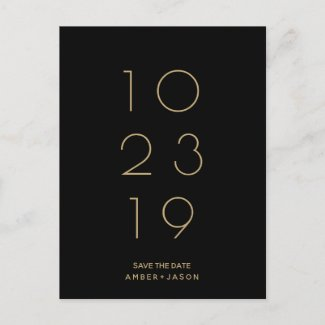 Minimal black and gold modern Save the Date Announcement Postcard