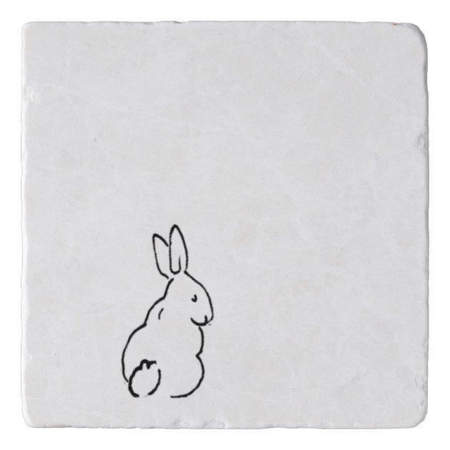 Minimal Black Bunny Rabbit Drawing Simple Nature A Trivet Zazzle.com
