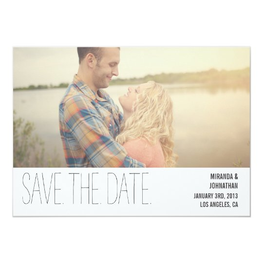 Minimal Black Chic Photo Save The Date Invites