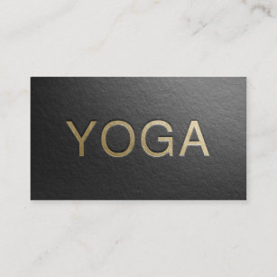 Gold embossed business cards zazzle minimal black gold embossed text yoga instructor business card reheart Choice Image
