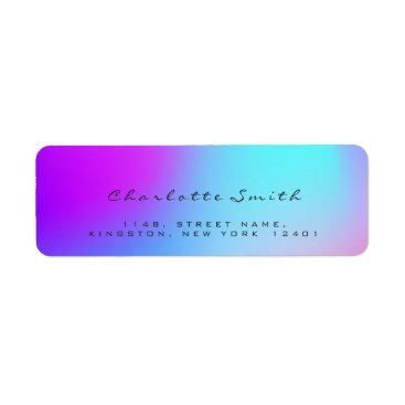McTiffany Tiffany Aqua Minimal Black Ombre Pink Return Address Labels