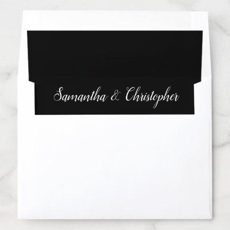 Minimal Black & White Calligraphy Names Wedding Envelope Liner