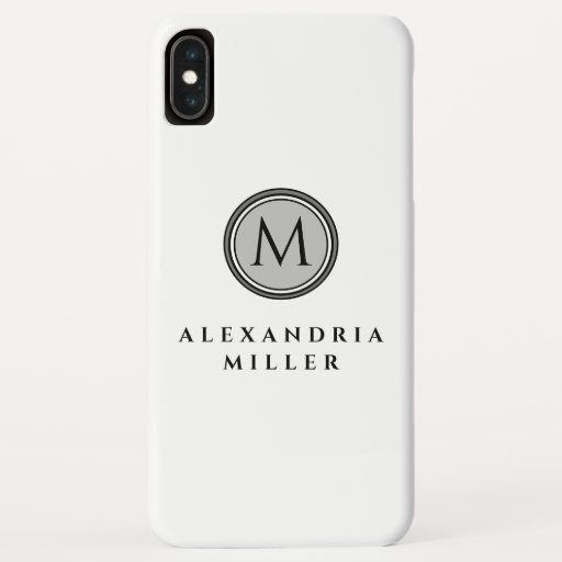Minimal Black White & Gray Monogram Medallion iPhone XS Max Case