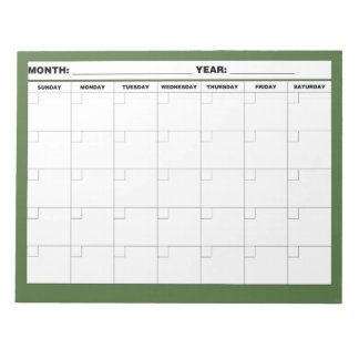 Minimal Blank Calendar Note Pad