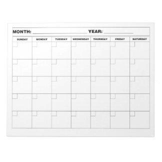 Minimal Blank Calendar Notepad