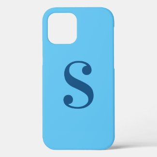 Minimal Blue Monogram on Light Blue Case-Mate iPhone Case