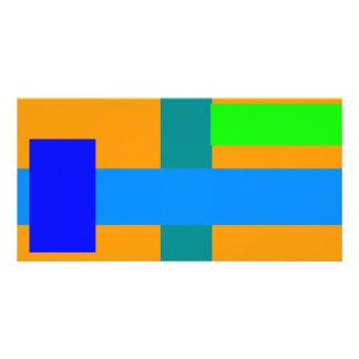 Minimal Blue Station Orange Peel Photo Card