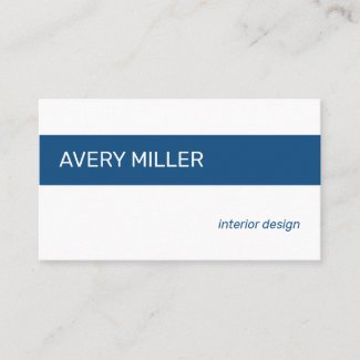 Minimal Blue Stripe on White Business Card