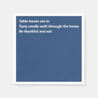 Minimal Blue Thanksgiving Modern Thankful Poem Napkin