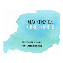 Minimal Blue Watercolor Swatch Save the Date Postcard