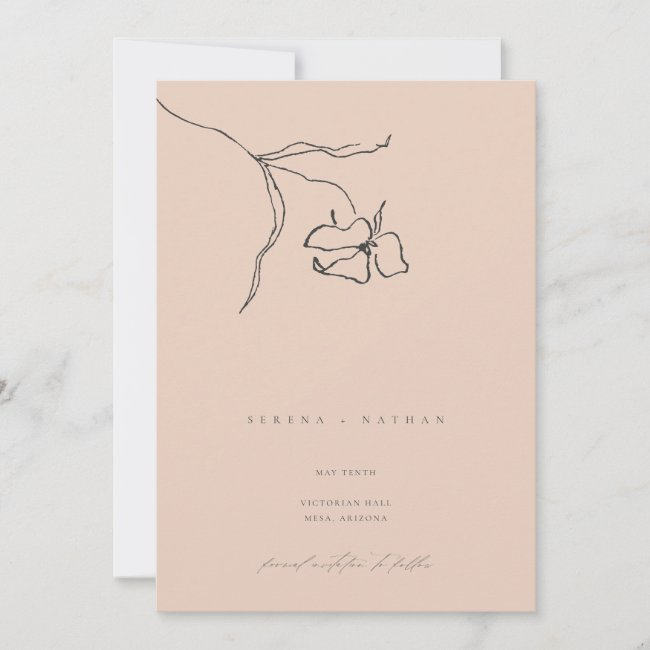 Minimal Blush Delicate Fine Art Floral Wedding Save The Date