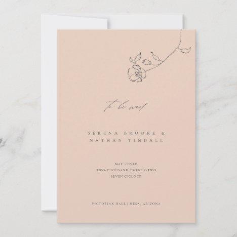Minimal Blush Delicate Floral Wedding Invitation